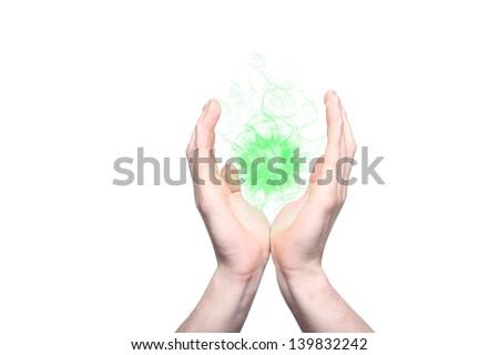 Hands holding an energy ball - stock photo