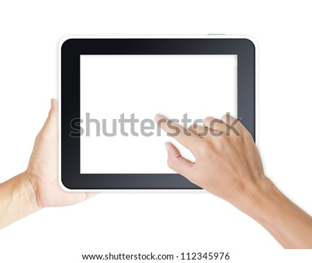 Hands holding and point on digital tablet