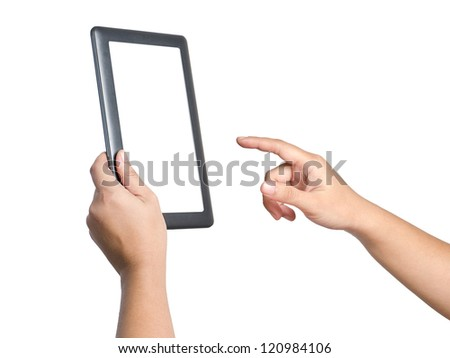 Hands holding and point on digital tablet. Isolated on white. - stock photo