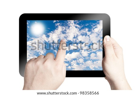 Hands holding and point on digital tablet with cloudy blue sky on screen. Isolated on white background