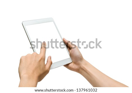 hands holding and pointing to a white tablet (isolated)