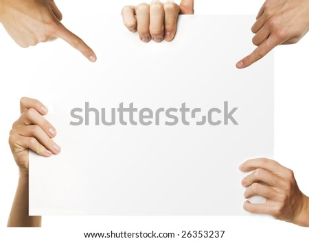 hands holding blank advertisement paper - stock photo