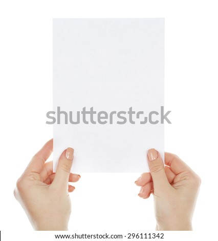 Hands holding blank card isolated on white - stock photo