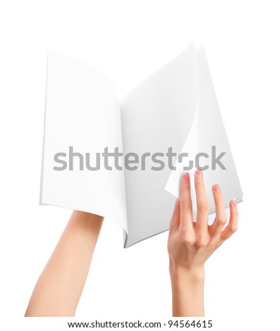 Hands holding blank newspape - stock photo