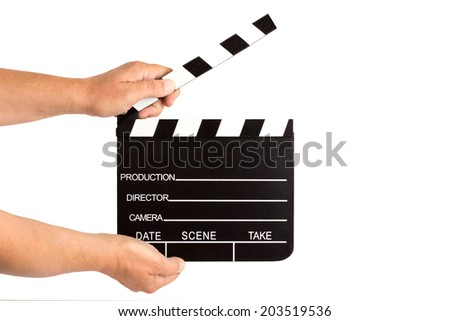 Hands holding clapperboard - isolated - stock photo