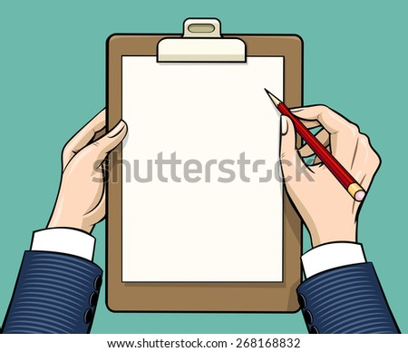 Hands holding clipboard with empty paper sheet, illustration in vintage style - stock photo