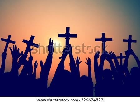 Hands Holding Cross Christianity Religion Faith Concept - stock photo