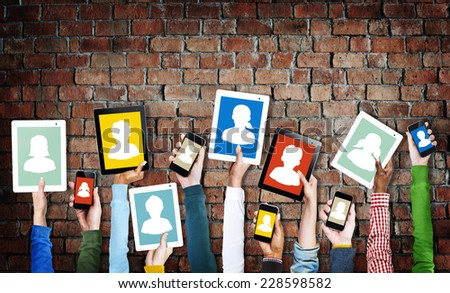 Hands Holding Digital Devices with Avatar Symbol - stock photo