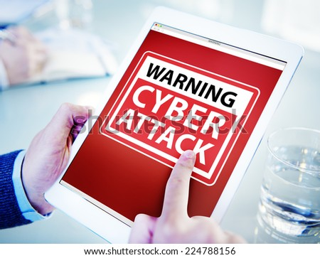 Hands Holding Digital Tablet Cyber Attack - stock photo