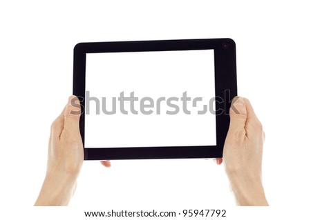 Hands holding digital tablet isolated over white background