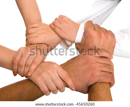 hands holding each other isolated on white - stock photo