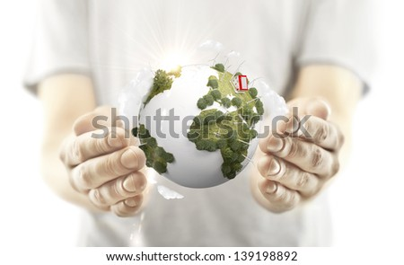 hands holding earth - stock photo