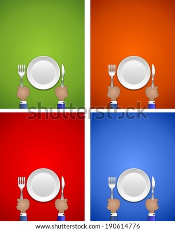 Hands holding fork and knife with plate ideal for sign or advertising - stock photo