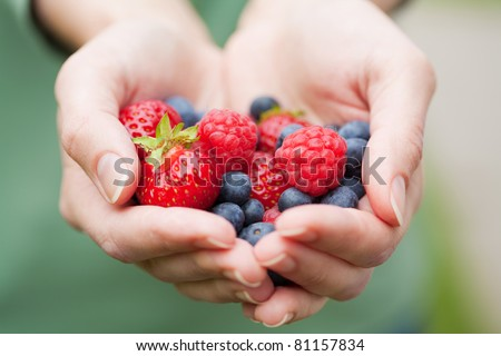 hands holding fresh berries - stock photo