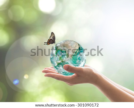 Hands holding green planet w/ butterfly on blur green greenery background natural tree leaves facing sky sun flare: Saving world environment CSR BIO concept: Element of this image furnished by NASA  - stock photo