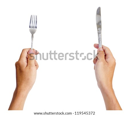 hands holding knife and fork, for dinning concepts.Isolated on white, with clipping path of both hand. - stock photo