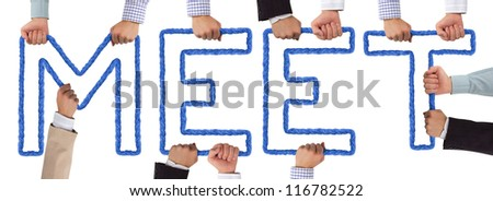 Hands holding letters forming MEET tag