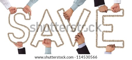 Hands holding letters forming Save tag