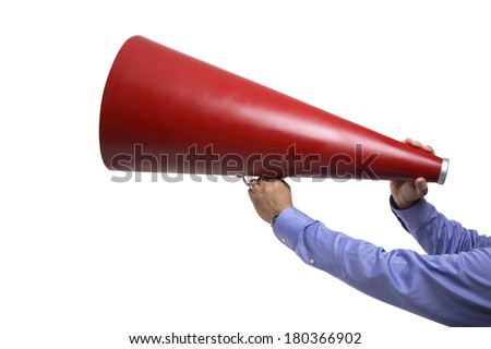 Hands holding megaphone - stock photo