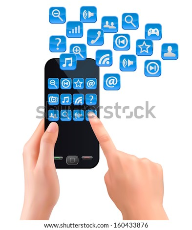 Hands holding mobile phone with icons. Raster version of vector. - stock photo