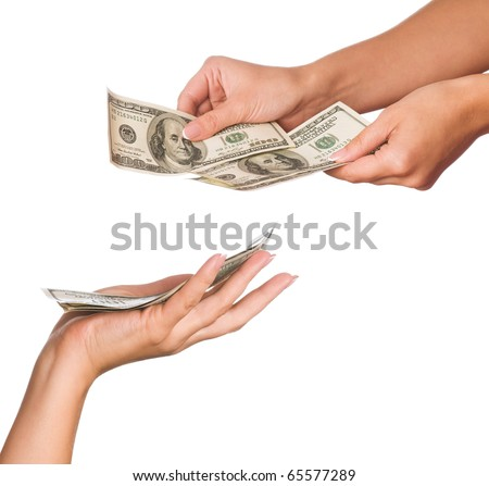 Hands holding money dollars isolated on white background - stock photo
