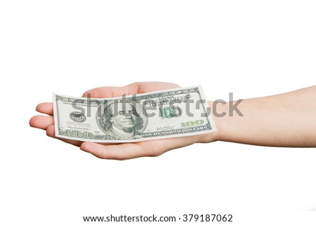 Hands holding money dollars isolated on white background.Beggar hand with $ 100 on a white background. Alpha.  - stock photo