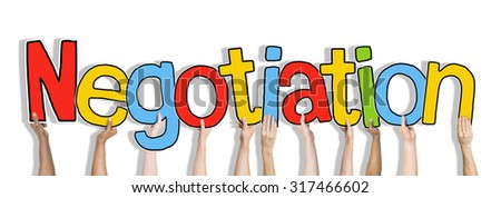Hands Holding Negotiation Word Concept - stock photo