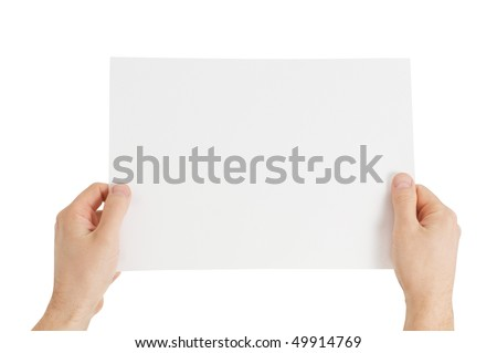 hands holding paper isolated - stock photo