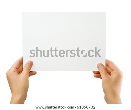 Hands holding paper isolated on white