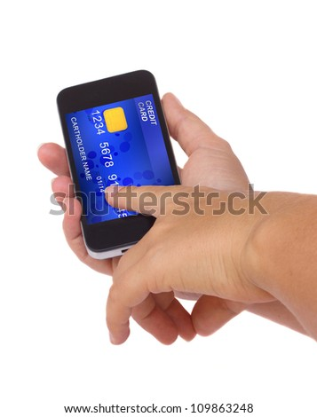 hands holding phone with credit card on display isolated on white background
