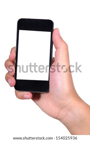 hands holding phones isolated in white - stock photo