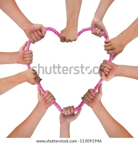 Hands holding pink heart isolated on white - stock photo
