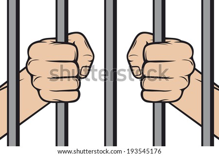 hands holding prison bars (hand behind prison bars, hand in jail) - stock photo