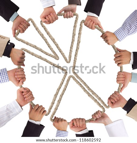 Hands holding rope forming circular graph - stock photo