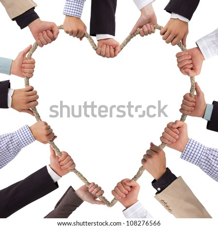 Hands holding rope forming heart
