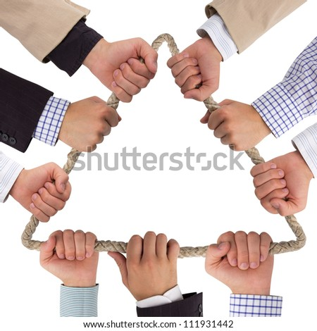 Hands holding rope forming triangle isolated on white - stock photo