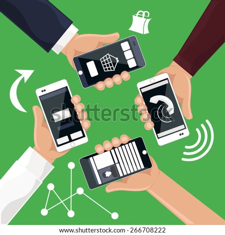 Hands holding smartphones telephones that call send sms bought products online cartoon flat design style. Raster version - stock photo