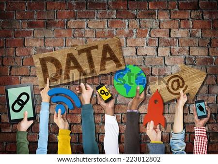 Hands Holding Symbols Data Concept - stock photo