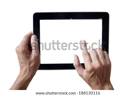 hands holding tablet - stock photo