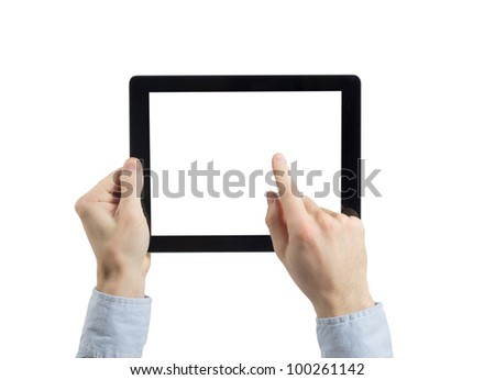 hands holding tablet computer - stock photo