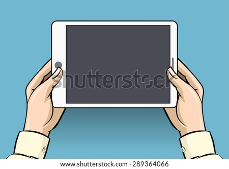 Hands holding tablet computer. Screen digital display, touchscreen and device
