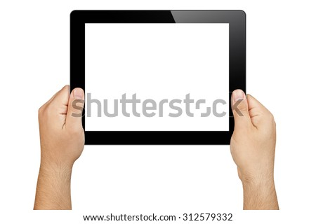 hands holding tablet pc in landscape orientation with blank white screen displayed towards the camera isolated - stock photo