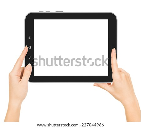 hands holding tablet pc with white screen - stock photo