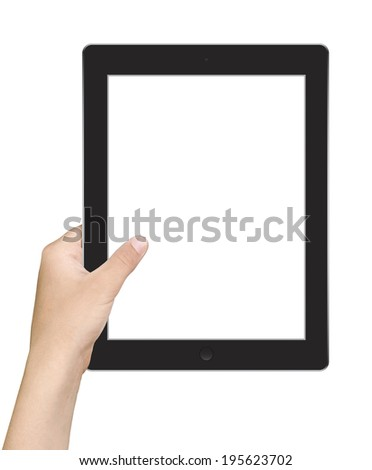 Hands holding touch screen tablet pc with blanc screen - stock photo