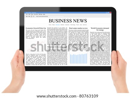 Hands holding touch screen tablet pc with business news. Include 2 clipping path for screen and tablet with hands. - stock photo