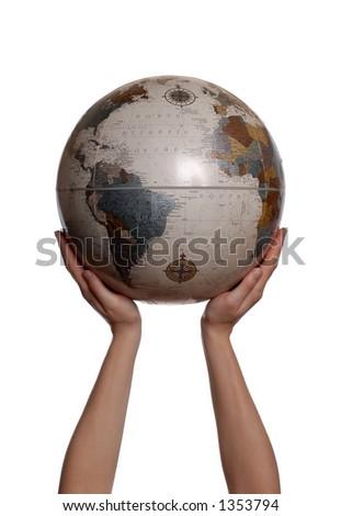 Hands Holding up Globe on White Background - stock photo