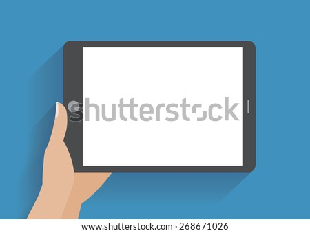Hands holing tablet computer with blank screen. Using digital tablet pc, flat design concept - stock photo