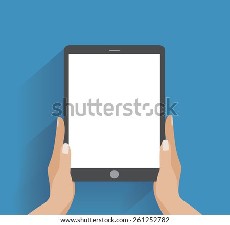 Hands holing tablet computer with blank screen. Using digital tablet pc similar to ipad, flat design concept - stock photo
