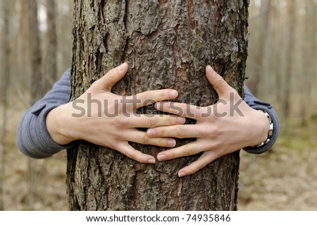 hands hug a tree