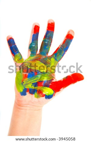 Hands in a paint